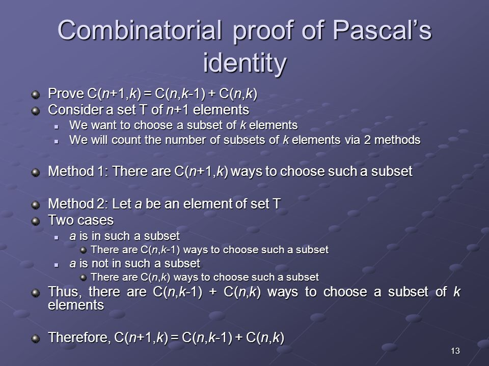 Combinatorial proof of Pascal's identity