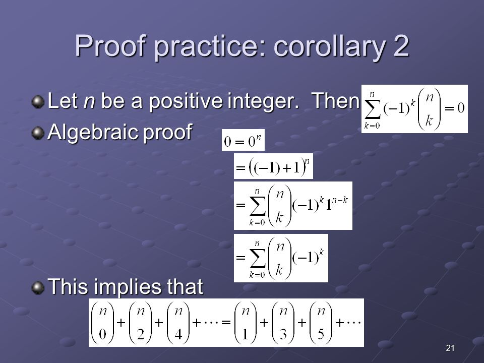 Proof practice: corollary 2