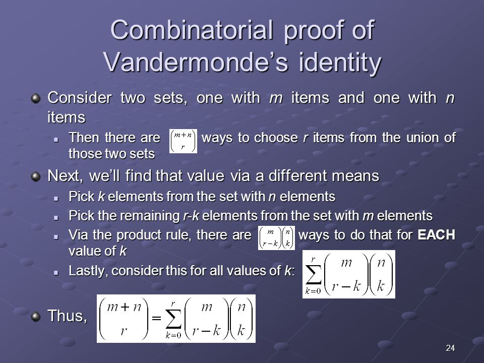 Combinatorial proof of Vandermonde's identity