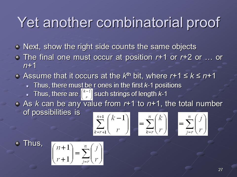 Yet another combinatorial proof