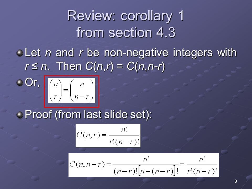 Review: corollary 1 from section 4.3
