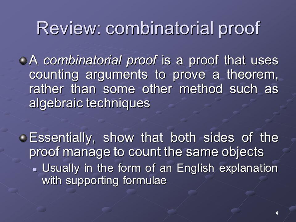Review: combinatorial proof