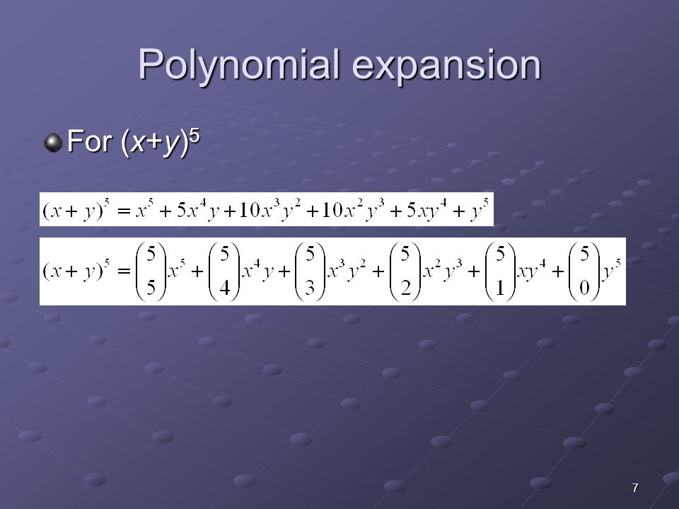 Polynomial expansion For (x+y)5