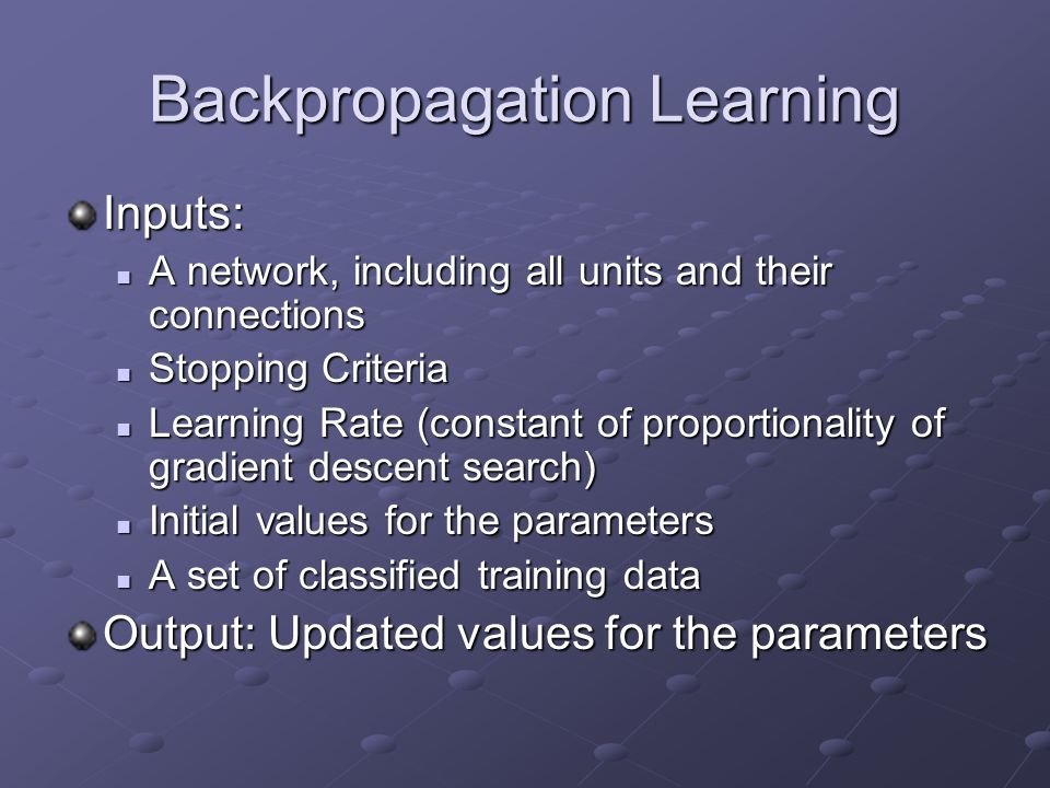 Backpropagation Learning
