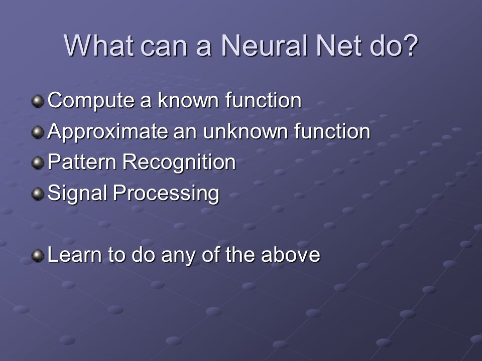 What can a Neural Net do Compute a known function