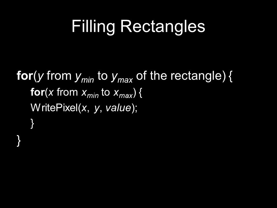 Filling Rectangles for(y from ymin to ymax of the rectangle) {