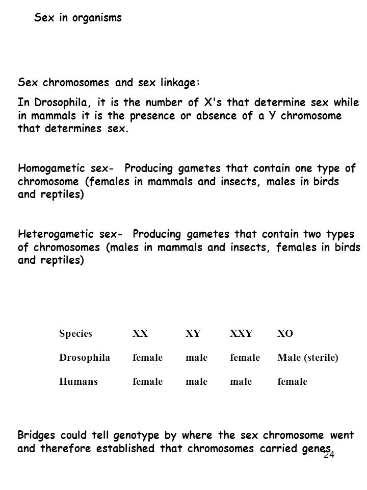 Sex in organisms Sex chromosomes and sex linkage: