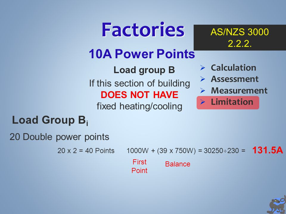 Factories 10A Power Points Load Group Bi AS/NZS 3000 2.2.2.