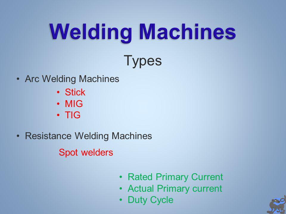Welding Machines Types Arc Welding Machines Stick MIG TIG