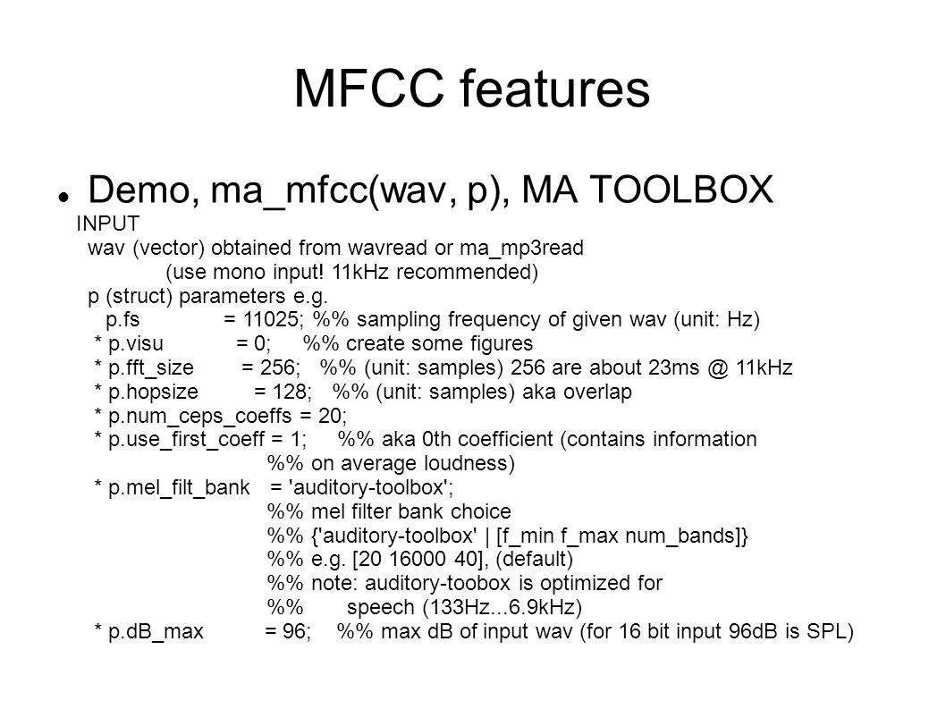 MFCC features Demo, ma_mfcc(wav, p), MA TOOLBOX INPUT
