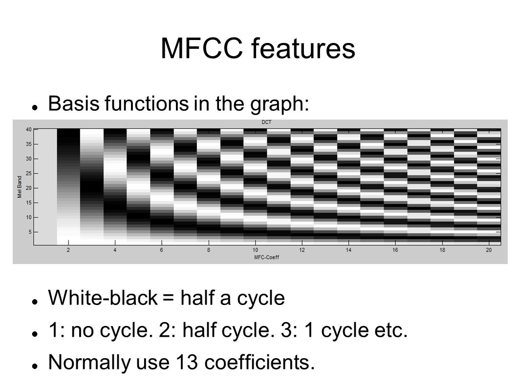 MFCC features Basis functions in the graph: White-black = half a cycle