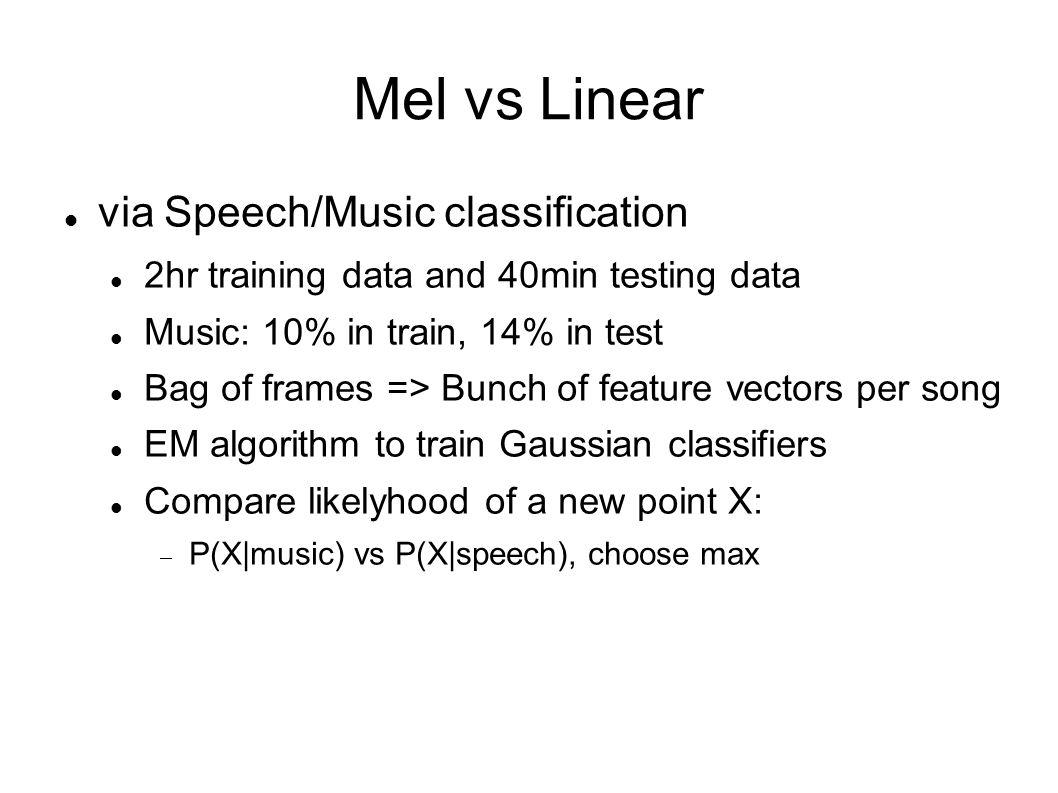 Mel vs Linear via Speech/Music classification