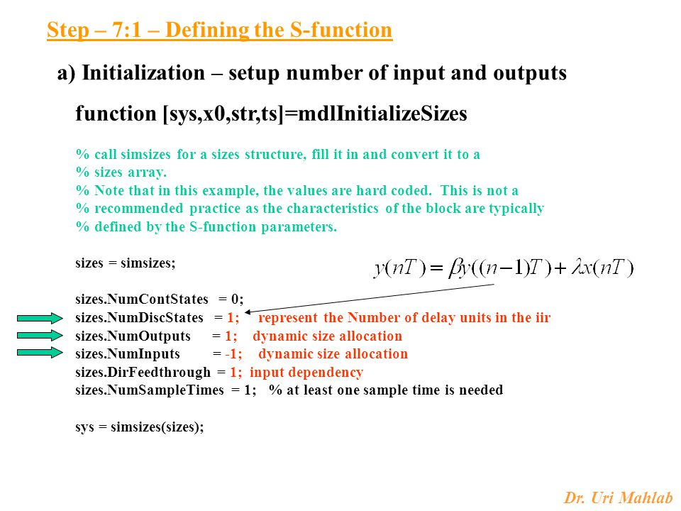 Step – 7:1 – Defining the S-function