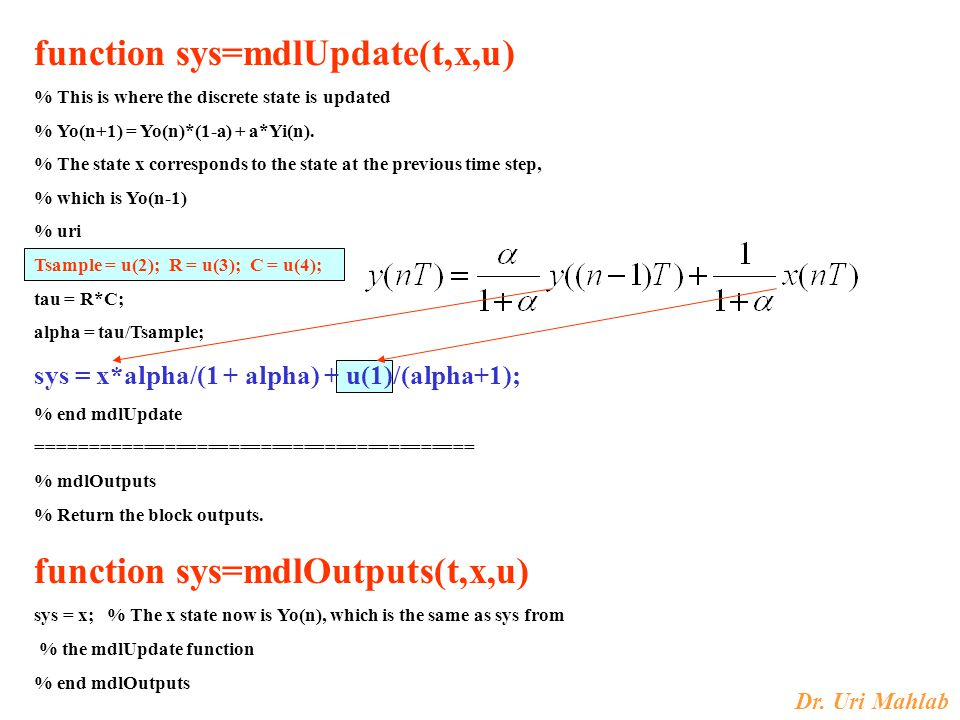 function sys=mdlUpdate(t,x,u)