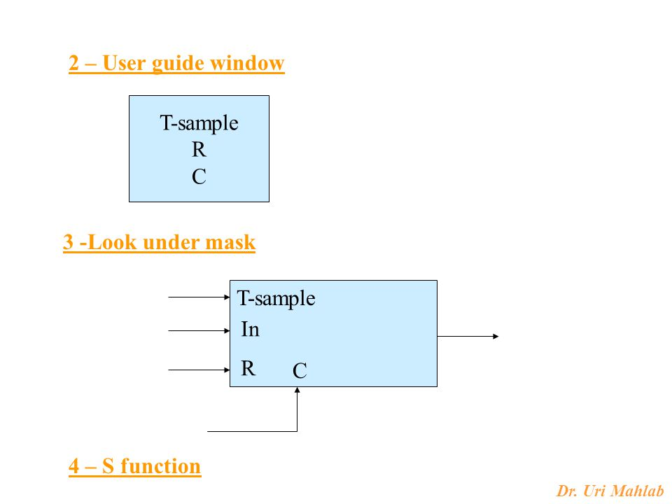 2 – User guide window T-sample R C 3 -Look under mask T-sample In R C 4 – S function