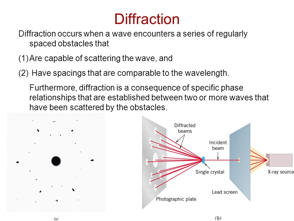 Diffraction Diffraction occurs when a wave encounters a series of regularly spaced obstacles that. Are capable of scattering the wave, and.