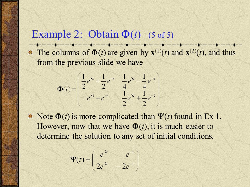 Example 2: Obtain (t) (5 of 5)