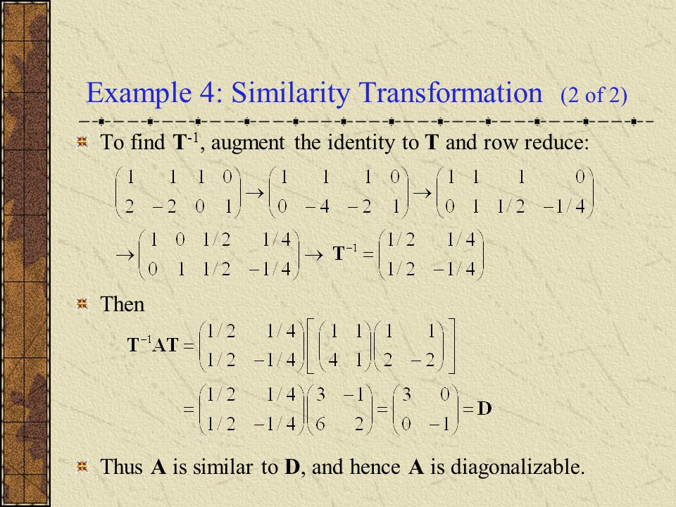 Example 4: Similarity Transformation (2 of 2)