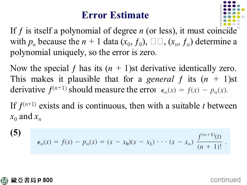 Error Estimate