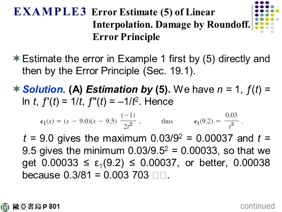 E X A M P L E 3 Error Estimate (5) of Linear Interpolation