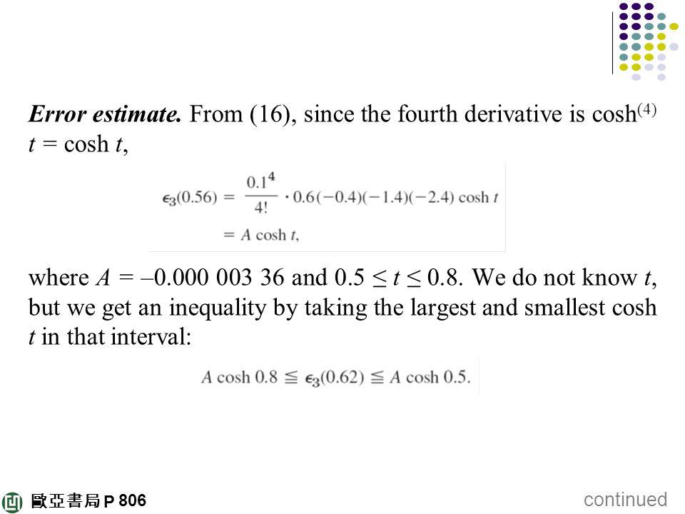 Error estimate. From (16), since the fourth derivative is cosh(4) t = cosh t,