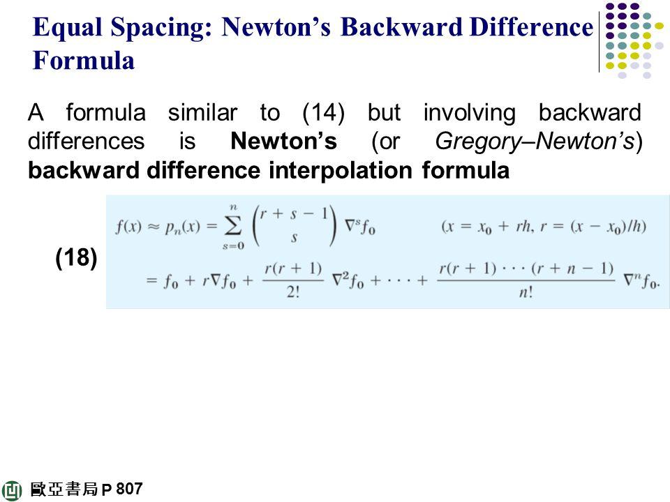 Equal Spacing: Newton's Backward Difference Formula