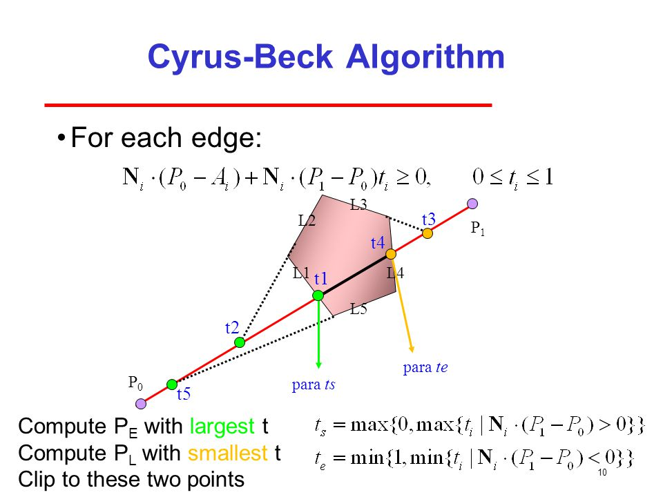 Cyrus-Beck Algorithm For each edge: Compute PE with largest t