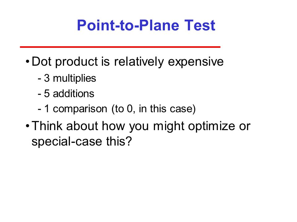 Point-to-Plane Test Dot product is relatively expensive