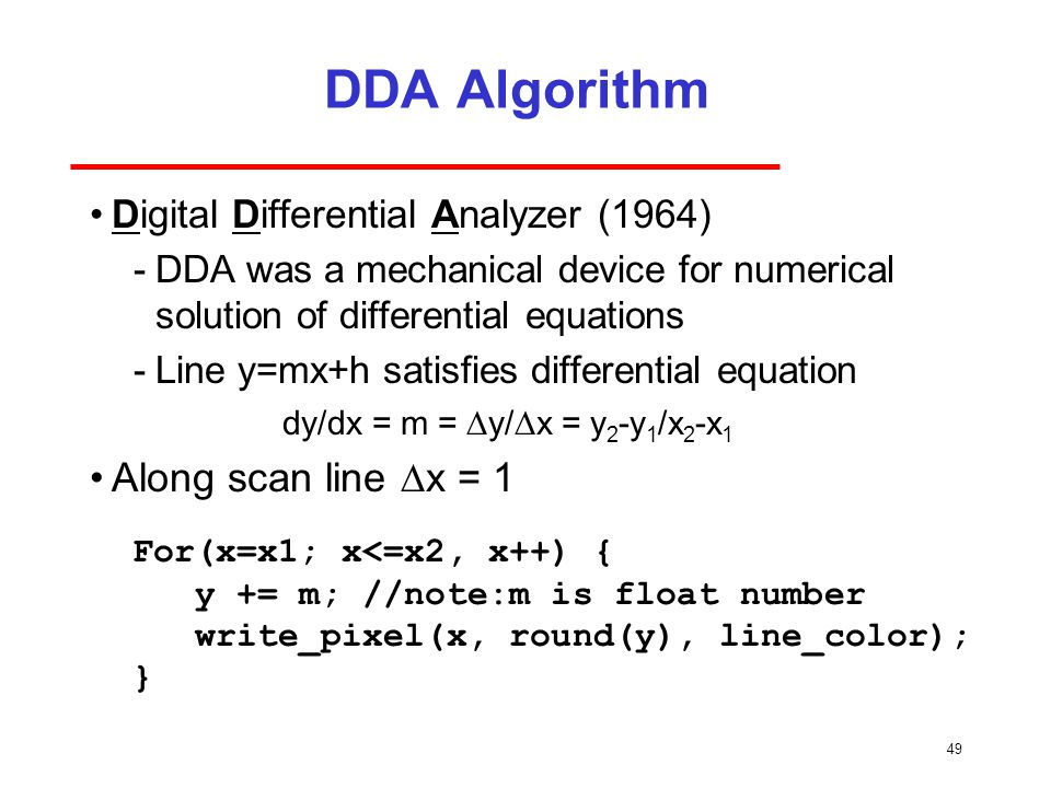 DDA Algorithm Along scan line Dx = 1
