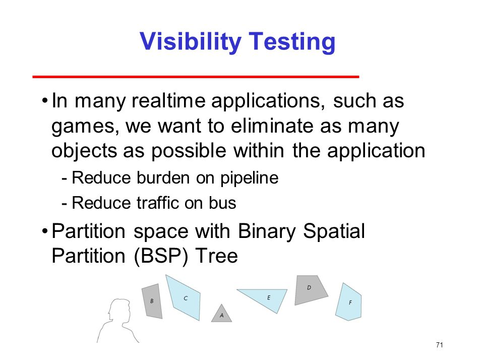 Visibility Testing In many realtime applications, such as games, we want to eliminate as many objects as possible within the application.