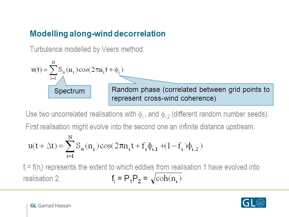 Modelling along-wind decorrelation
