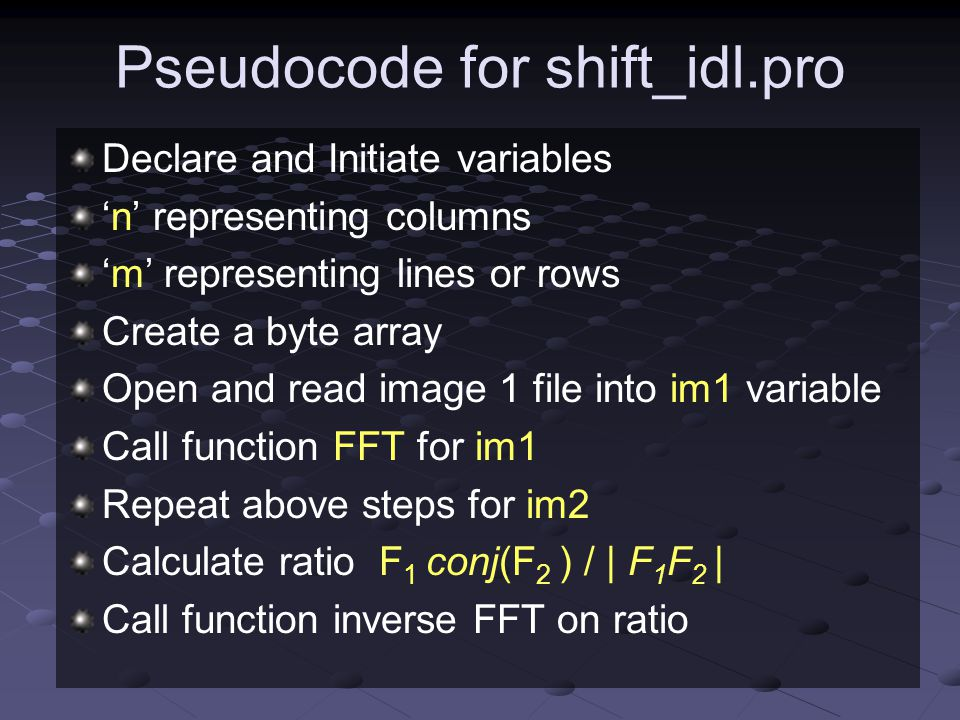 Pseudocode for shift_idl.pro
