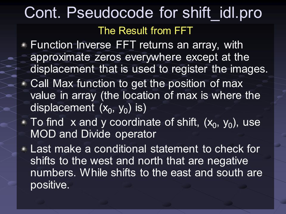 Cont. Pseudocode for shift_idl.pro