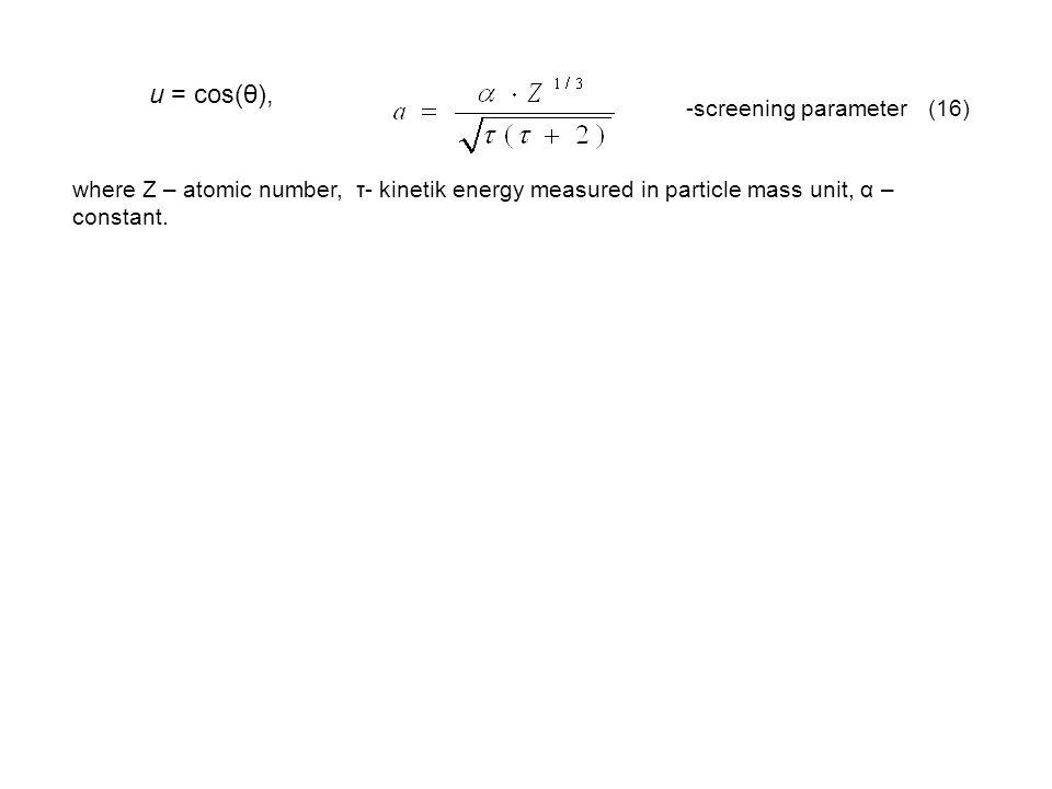 u = cos(θ), -screening parameter (16)