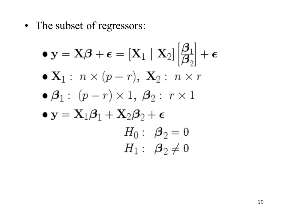 The subset of regressors: