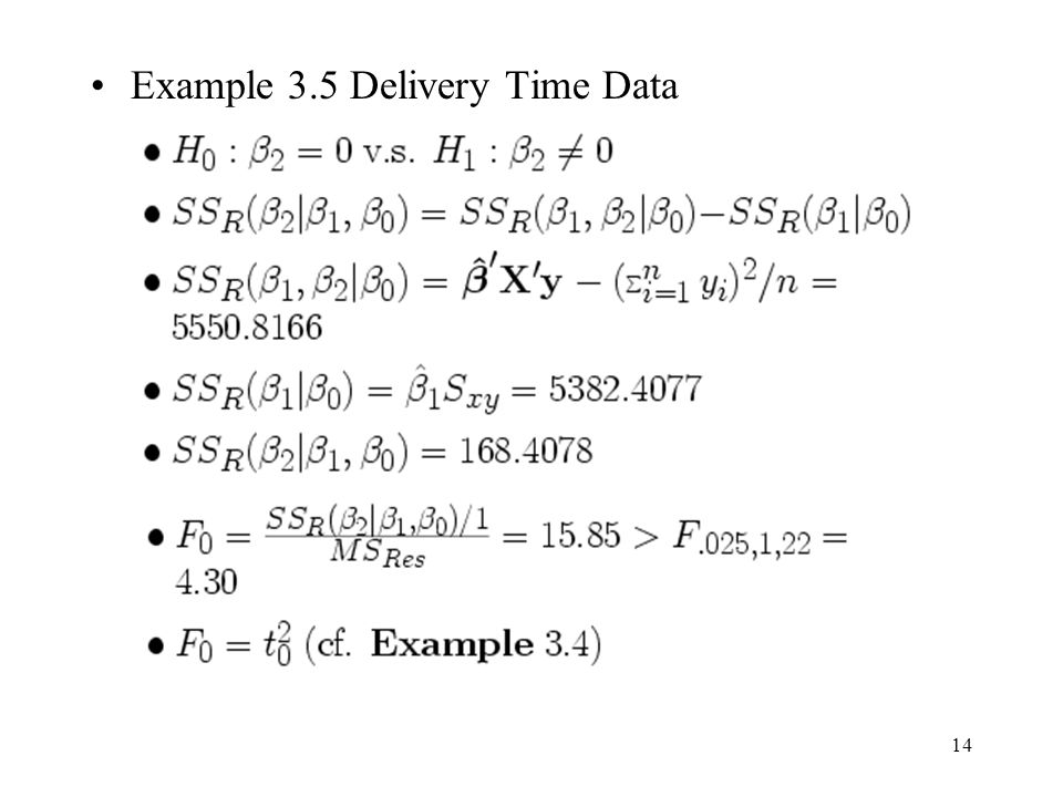 Example 3.5 Delivery Time Data
