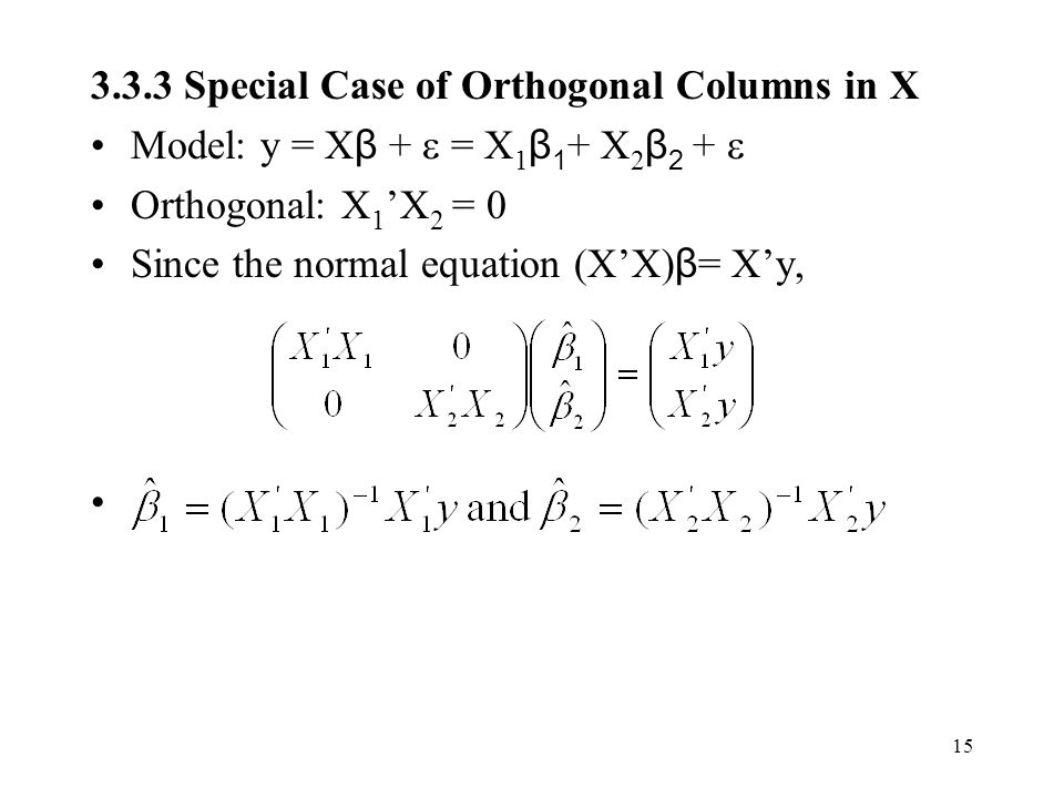 3.3.3 Special Case of Orthogonal Columns in X