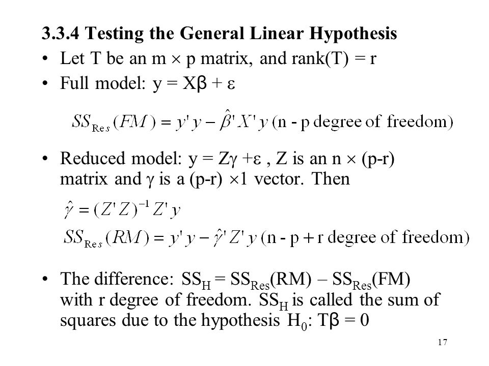 3.3.4 Testing the General Linear Hypothesis