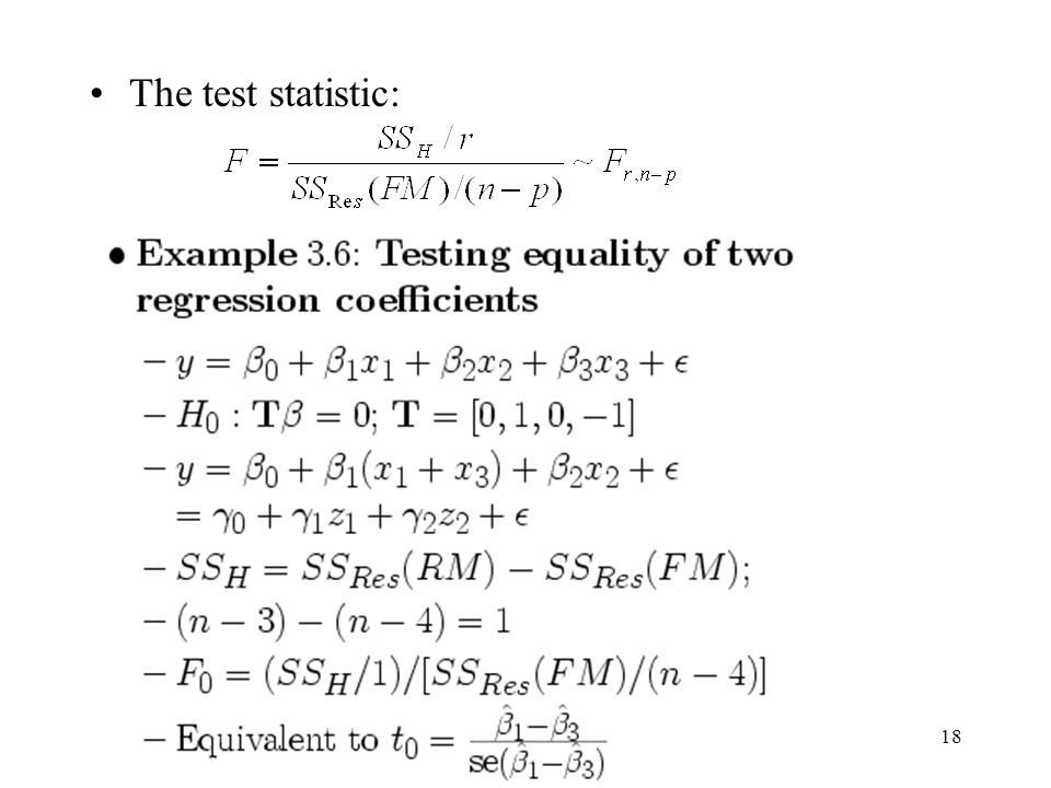 The test statistic: