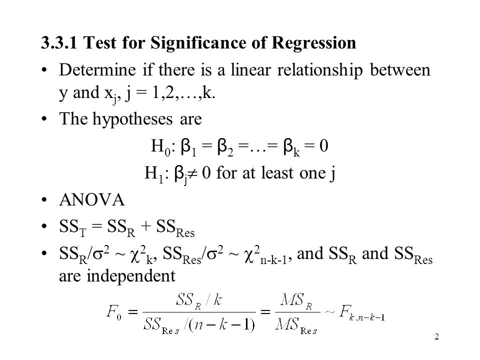 3.3.1 Test for Significance of Regression