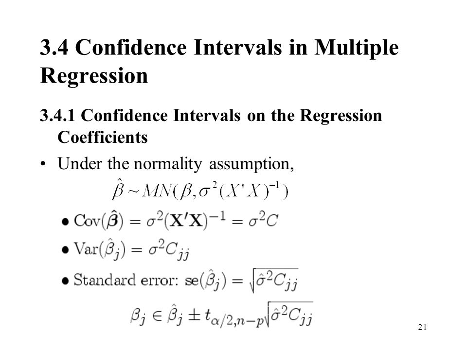3.4 Confidence Intervals in Multiple Regression