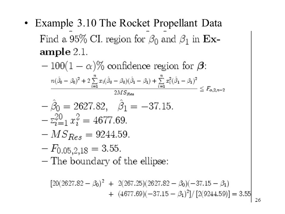 Example 3.10 The Rocket Propellant Data