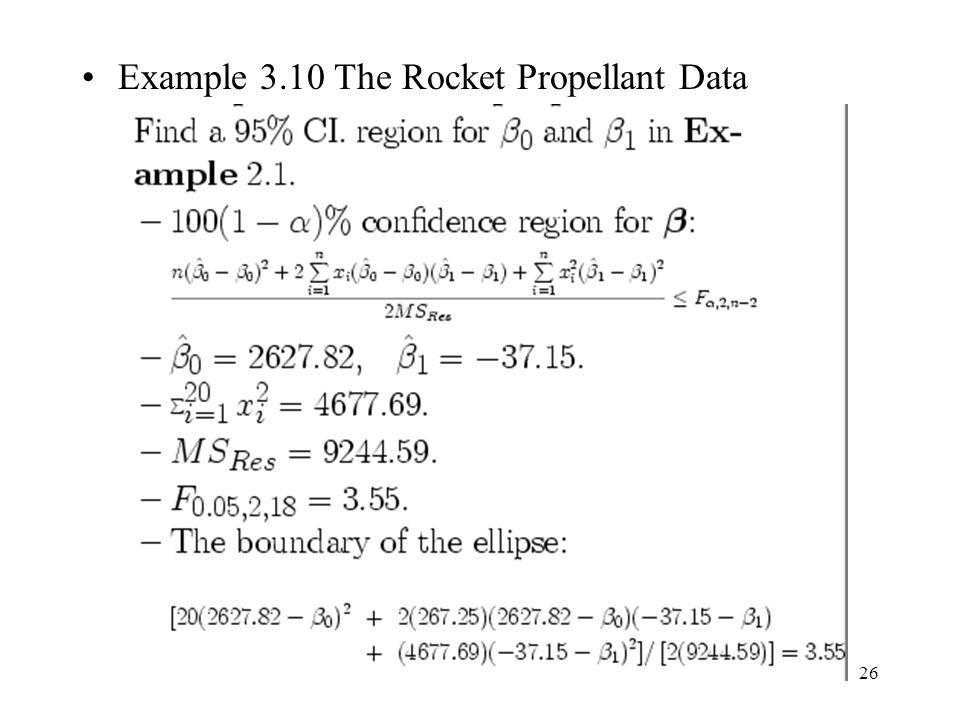 Example 3.10 The Rocket Propellant Data