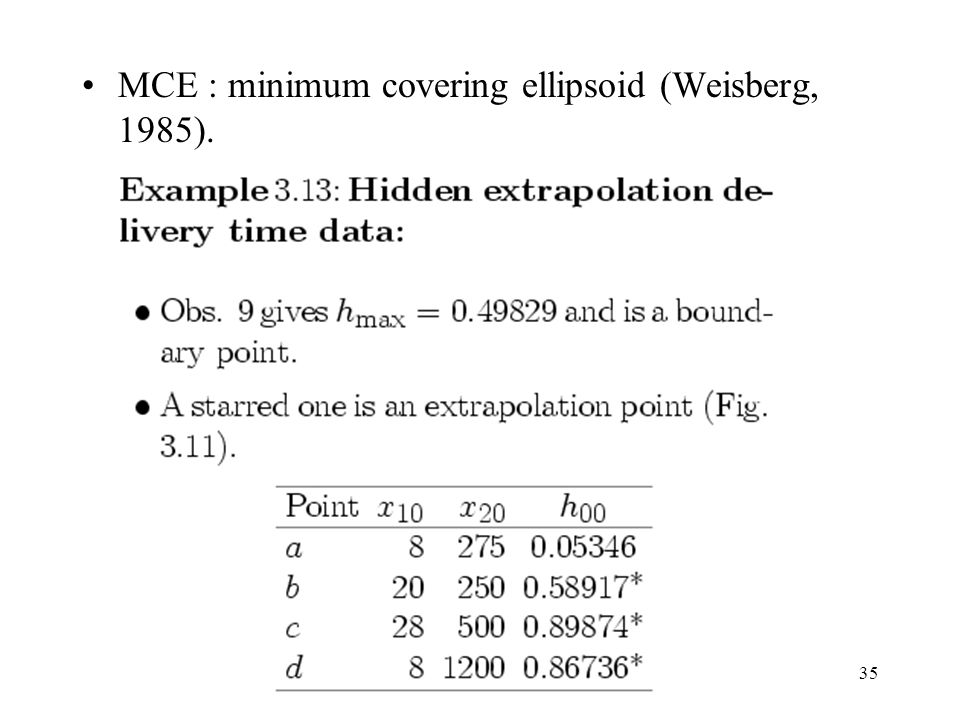 MCE : minimum covering ellipsoid (Weisberg, 1985).