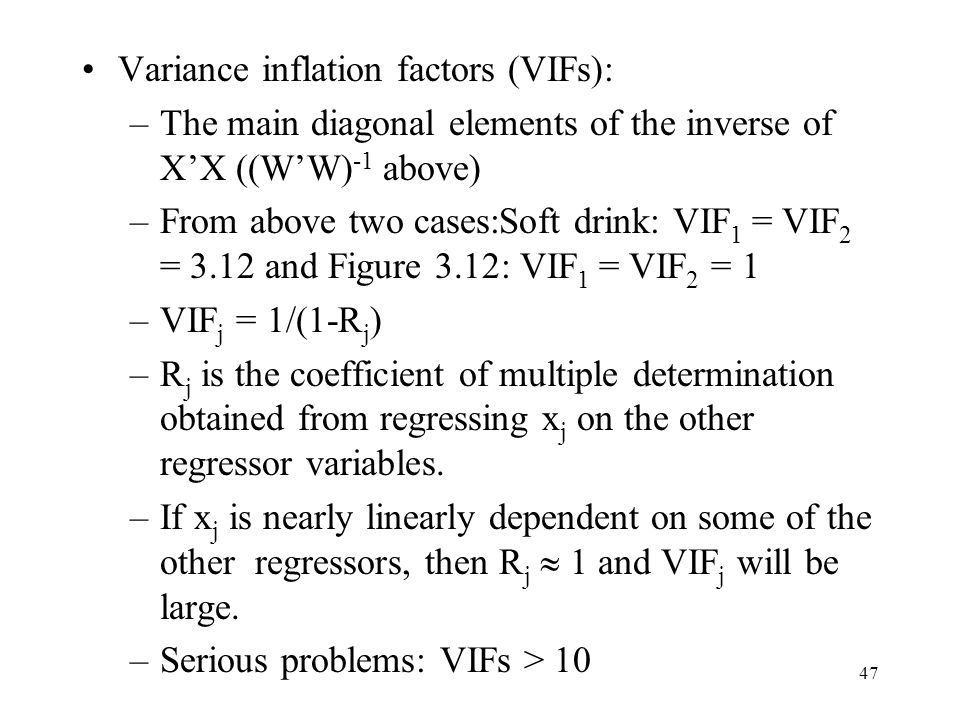 Variance inflation factors (VIFs):