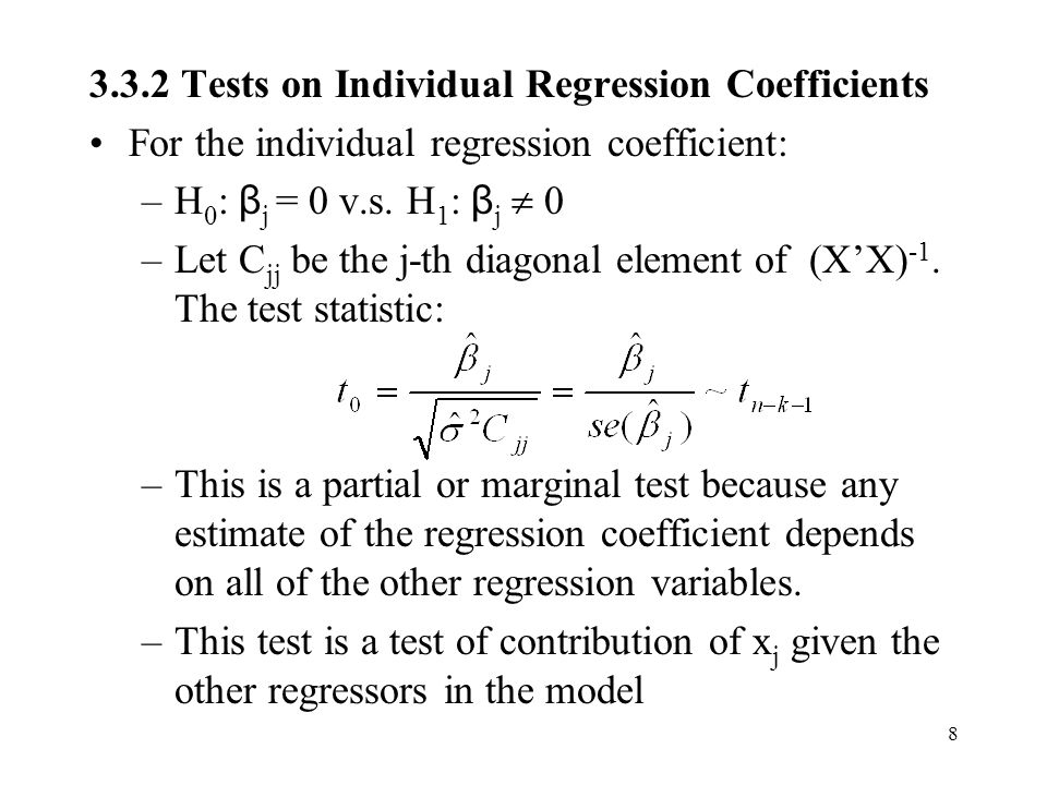 3.3.2 Tests on Individual Regression Coefficients