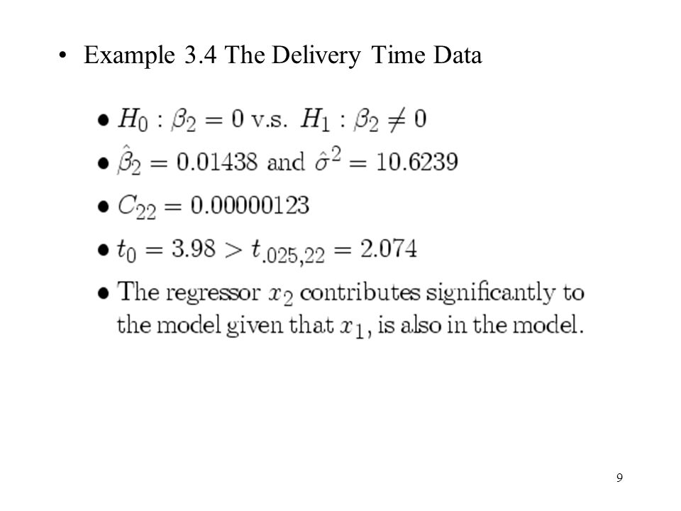 Example 3.4 The Delivery Time Data