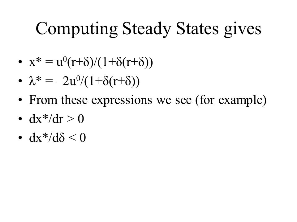 Computing Steady States gives