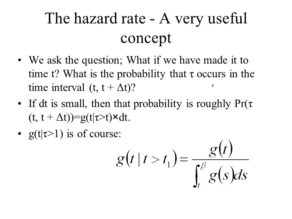 The hazard rate - A very useful concept