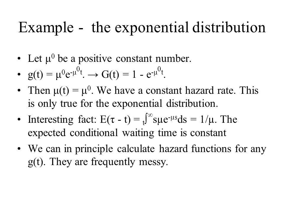 Example - the exponential distribution